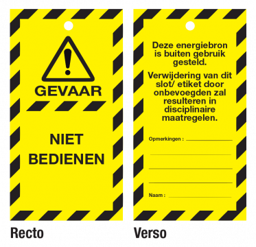 Waarschuwingstag do not operate pvc 50x100mm