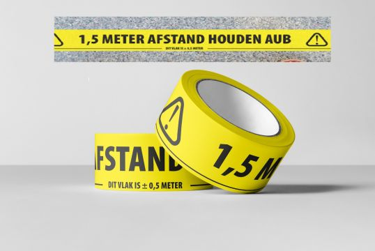 Tape 1,5m afstand houden PVC 66mtrx50mm
